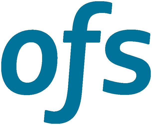 "OFS logo, sans serif blue ""o"", ""f"", and ""s"""