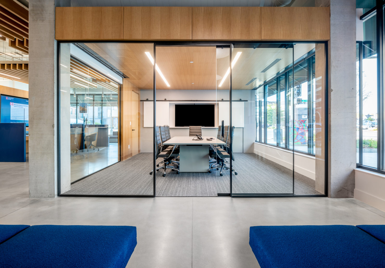 Conference room with big glass doors