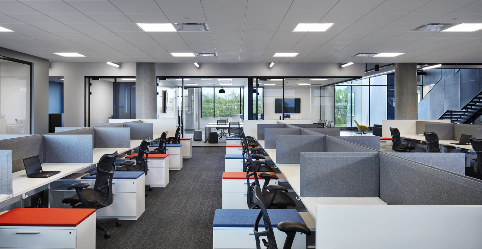 Office space with multiple cubicles